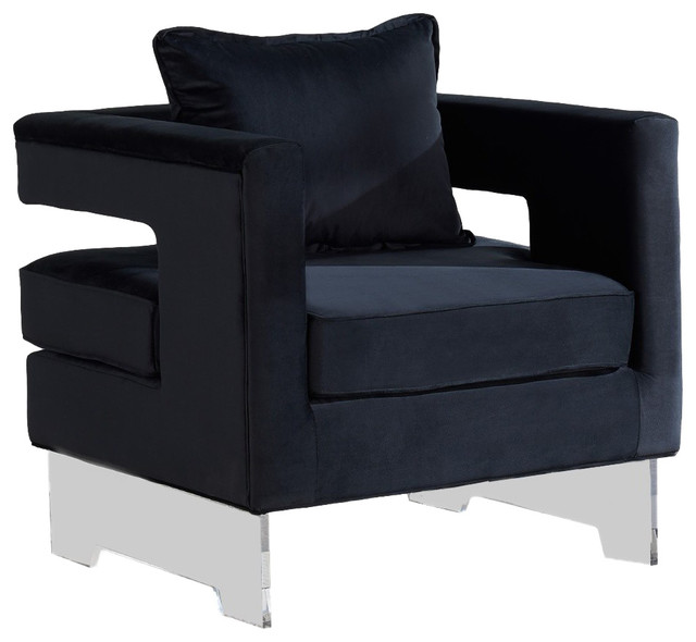 Carson Velvet Accent Chair, Black Contemporary Armchairs And Accent Chairs