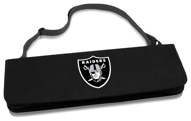 Oakland Raiders Metro Bbq Tote & Tools Set, Black.