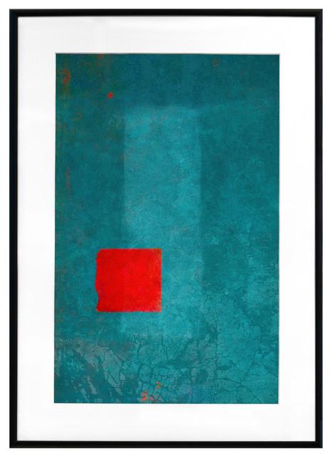 """""""rouge Et Turquoise"""" Framed Art Print, 20""""x16""""."""