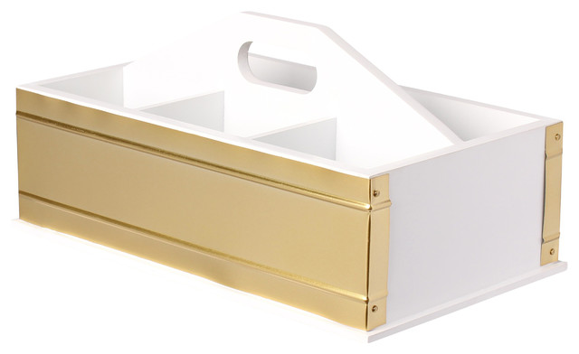 Kate And Laurel Industrious Office Supply Caddy Desk Organizer, White And  Gold Contemporary Desk