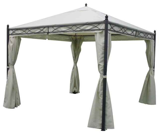 Christine Outdoor White Water Resistant Gazebo With Dark Gray Steel Frame.