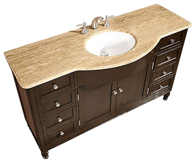 58 Inch Large Walnut Bathroom Vanity Single Sink Choice Of Top Transitional Traditional Bathroom Vanities And Sink Consoles By Unique Online Furniture Houzz