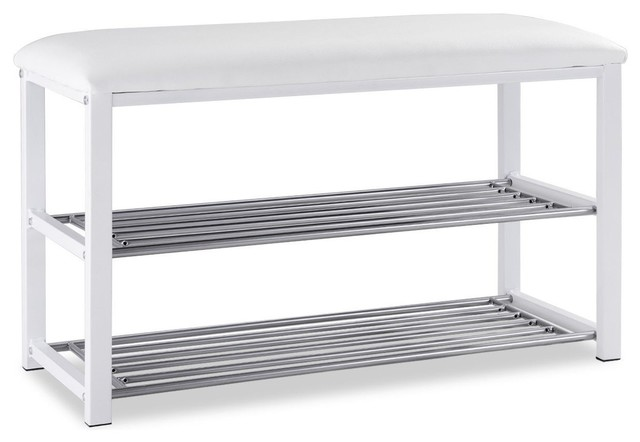 2 Tier Entryway Metal Soft Seat Shoe Rack Bench Contemporary Shoe Storage By Imtinanz Llc
