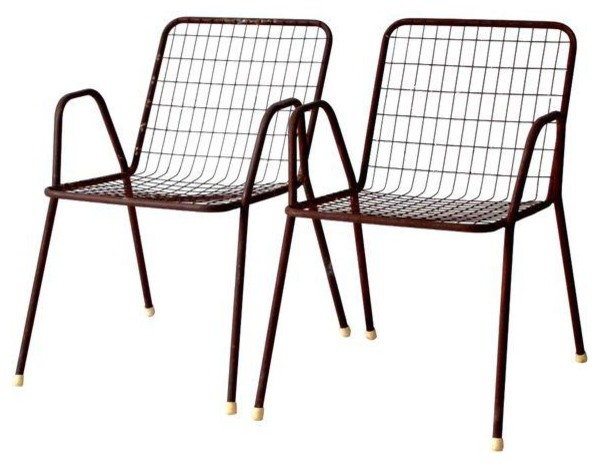 Marvelous Consigned Mid Century Metal Patio Chairs Set Of 2 Unemploymentrelief Wooden Chair Designs For Living Room Unemploymentrelieforg