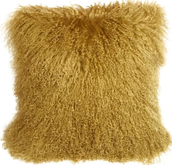 """Pillow Decor, Mongolian Sheepskin Throw Pillow, Soft Gold, 18""""x18"""""""