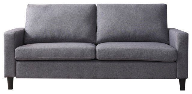 "74"" Track Arm Sofa With Linen Textured Fabric."