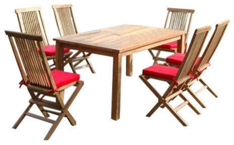 7 Piece Montage Dining Set With 6 Bristol Folding Chairs, SET 202,