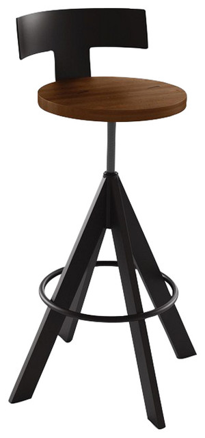 Amisco Uplift Screw Stool Upholstered Seat And Metal