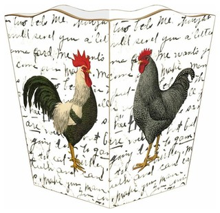 Roosters on Script Wastepaper Basket - Farmhouse ...
