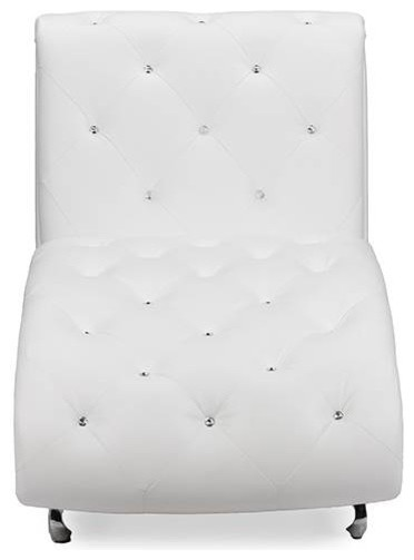 Pease Faux Leather Upholstered Crystal Button Tufted Chaise Lounge, White.
