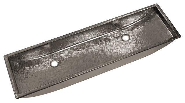 """Copper Trough Bathroom Sink, Polished Nickel, 48"""""""