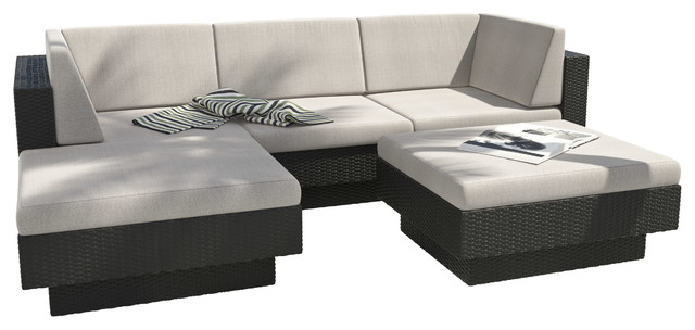 Cromer 5 Piece Textured Black Sectional Patio Set