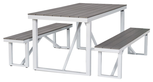 Numana 3 Piece Aluminum And Faux Wood Patio Picnic Table Set Contemporary Outdoor Dining Sets By Thy Hom