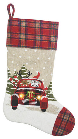 snowy car by santa light up christmas stocking 20 inch - Rustic Christmas Stockings