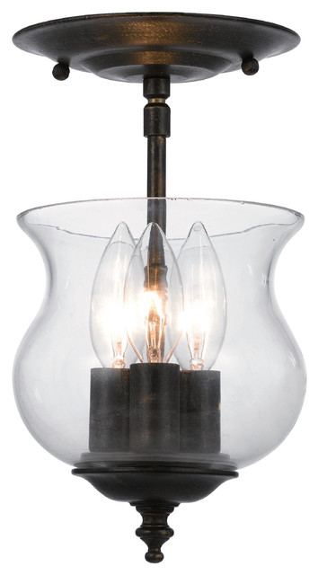 Crystorama Ascott 3-Light Glass Jar Semi-Flush Mount, English Bronze.