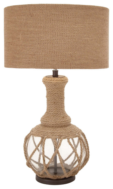 Ingenious Glass And Jute Rope Table Lamp Beach Style Table Lamps By Nav