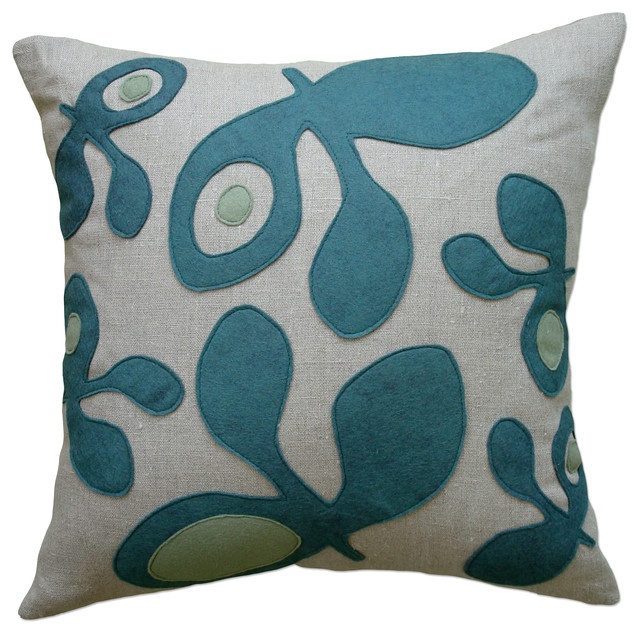 Felt Appliqué Linen Pillow - Pod, Brook/Loden, 22x22