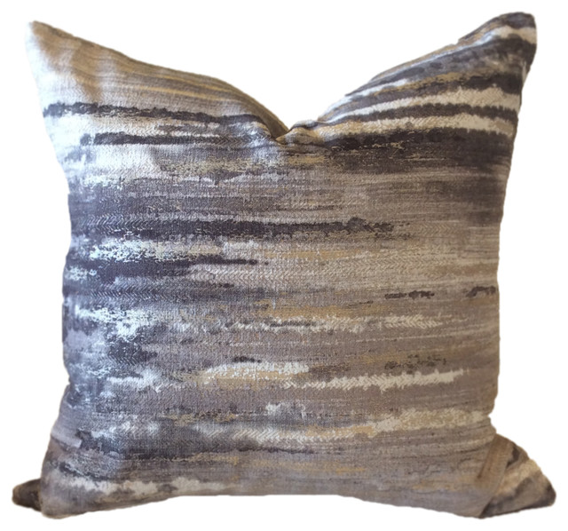 """Grey/white/gold Abstract  Clarke & Clarke 18"""" Square Decorative Pillow Cover."""
