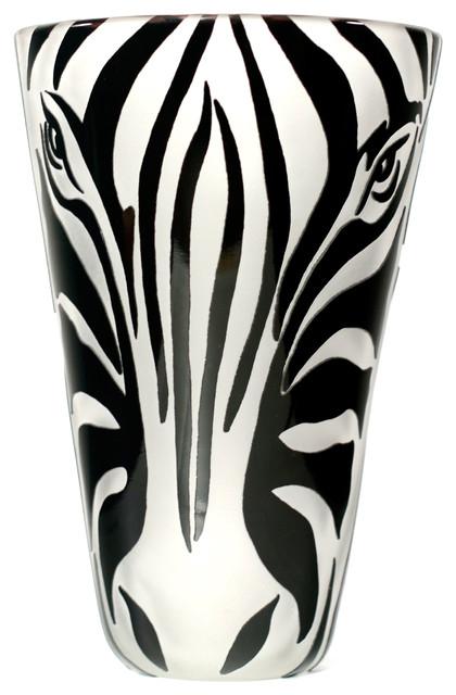 Vase Zebra Face Bw Vases By Correia Art Glass