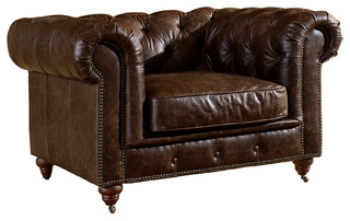 Leather Chesterfield Arm Chair, Dark Brown