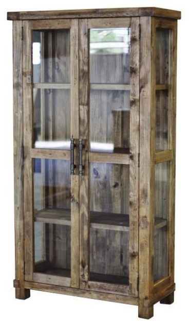 country glass display cabinet pine wood with weathered pine finish modern