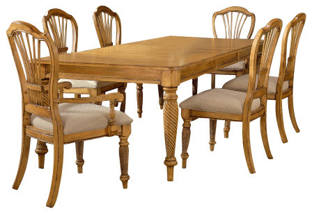 Superbe Hillsdale Wilshire 7 Piece Rectangle Dining Room Set In Antique Pine