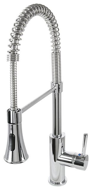 Ultra Faucets Chrome Single-Handle Kitchen Faucet With Pull-Down Spray, Chrome