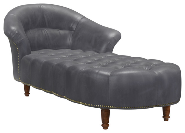 Steamer Chaise Lounge, Tobacco Leather.
