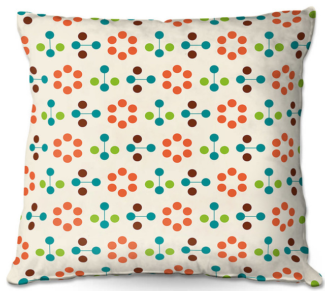 Dianoche Throw Pillows By Nika Martinez Mid Century Flower Orange.