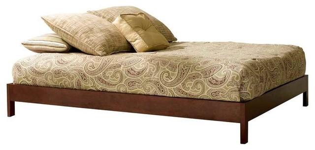 """Eco-Friendly Platform Bed In Mahogany Finish, Full, 78""""x56""""x11""""."""