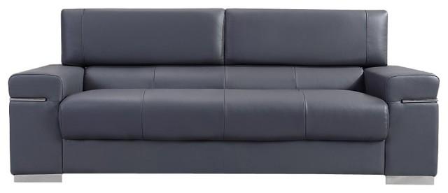 Soho Gray Leather Sofa.