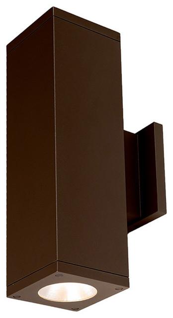 """Cube Architectural 5"""" LED Wall-Light Straight 40 Deg Beam 3500K, Bronze"""