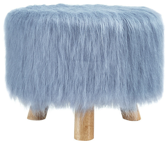 Linon Dusty Blue Faux Fur Stool Contemporary Accent