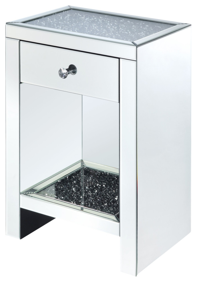 Mirrored Bedside Table With Drawers: Mirrored Wooden Night Table With 1 Drawer And Bottom Shelf
