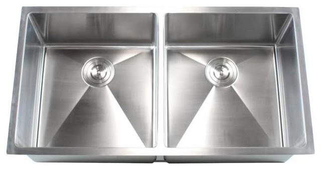 """Stainless Steel Undermount Double Bowl Kitchen Sink, Brushed Steel, 37"""""""