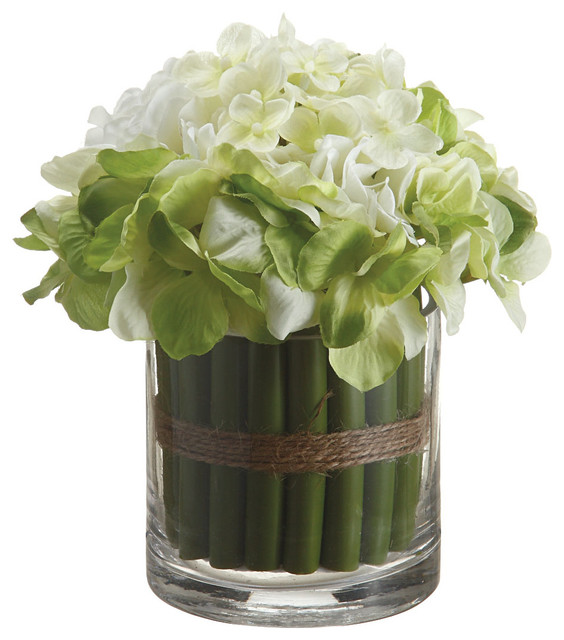 Silk Hydrangea Standing Bouquet In Glass Vase Blue
