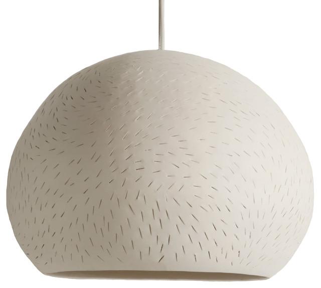 "Pendant Lamp 15"" Claylight Pendant, Line Pattern."