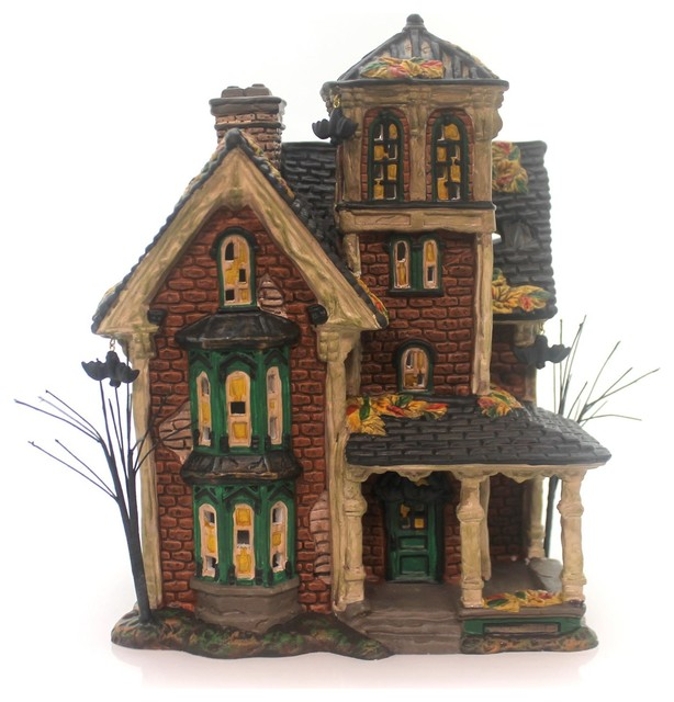 Department 56 House Ghastly&x27;s Haunted Villa Ceramic Halloween 4051007.