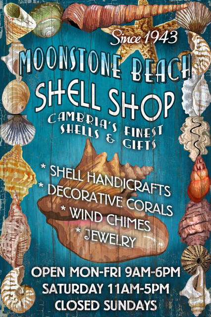 Quot Moonstone Beach California Shell Shop Vintage Sign Quot Print Beach Style Prints And Posters
