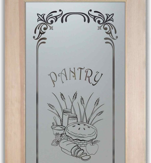 Pantry Doors Frosted Etched Glass Designs Eclectic Pantry And Cabinet Organizers Other