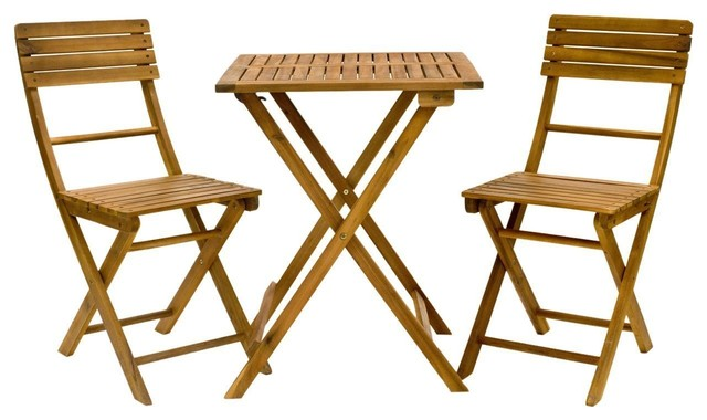 American Patio, 3-Piece Folding Bistro Set, Acacia Wood Table & Chairs.