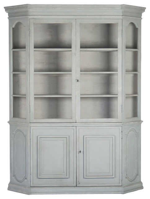 Superb Becky French Country Reclaimed Pine Display Storage China Cabinet With Doors