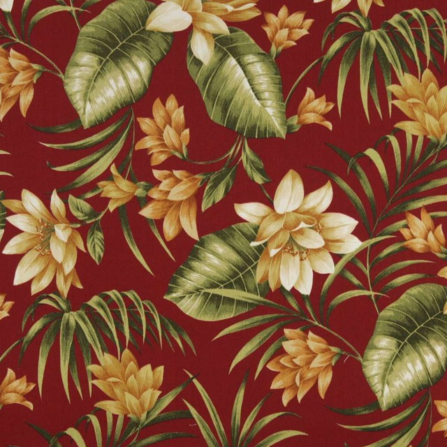 Red Gold And Green Floral Outdoor Indoor Marine Upholstery Fabric ...