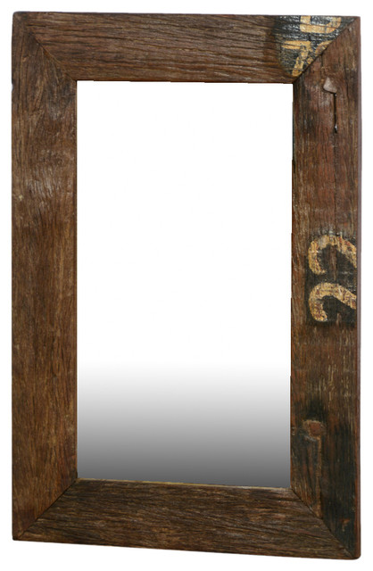 Disappearing Numbers Rustic Wide Framed Reclaimed Wood Wall Mirror wall- mirrors - Disappearing Numbers Rustic Wide Framed Reclaimed Wood Wall Mirror