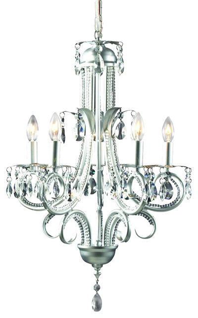 Five Light Brushed Nickel Crystal Clear Candle Chandelier Traditional Chandeliers