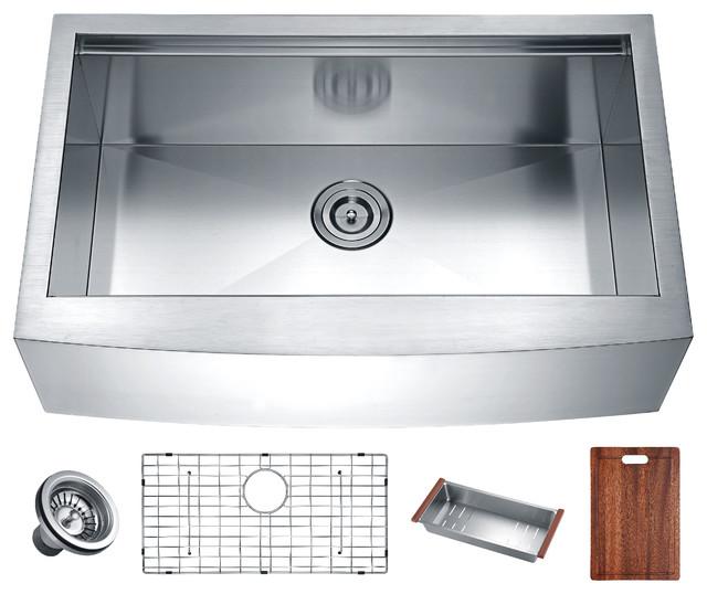 """Aegis 33"""" Stainless Steel Farmhouse Single Bowl Kitchen Sink."""