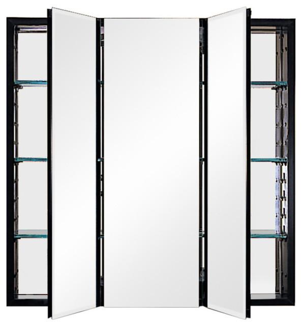 """Pl Series 3-Door Cabinet With Bevel Edge, Black, 30""""x30""""."""