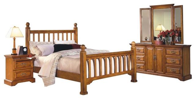 Haverhill Country Sleigh Queen Bedroom Furniture Set Honey Oak Wood Traditional Bedroom