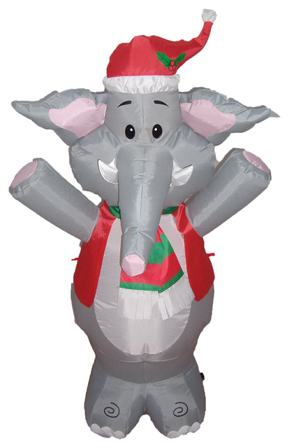 Christmas Blow Up Cute Elephant Yard Decoration, 4u0027 Contemporary Outdoor  Holiday