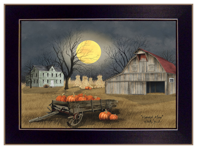 """""""harvest Moon"""" By Billy Jacobs, Ready To Hang Framed Print, Black Frame."""